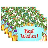 yyndw Table Mats Juguetes De Navidad Regalos De Papá Noel Guirnalda De Árbol Nevado De Navidad Campana Dorada Juego De Manteles Individuales Clásicos Juego De 6 Manteles Individuales Par