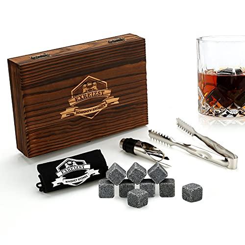 Set Regalo Pietre di Whisky | Set di 9 Rocce di Whisky refrigeranti riutilizzabili con Clip di Ghiaccio, versatore per Bottiglie di Vino e Custodia, Uomo, Donna, papà, miglior Regalo per Uomo