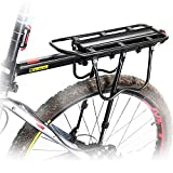 Queta Mountain Bike Portapacchi Posteriore, Portabici Regolabile, Portabici in Lega di Alluminio, Carico Massimo 100 kg con Catadiottro