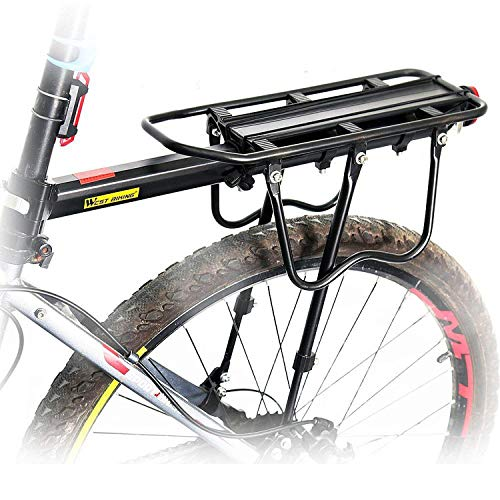 Queta Rear Rack Mountain Bike, Adjustable Bike Rack, Aluminum Alloy Road Rack, Maximum Load 100kg with Reflector