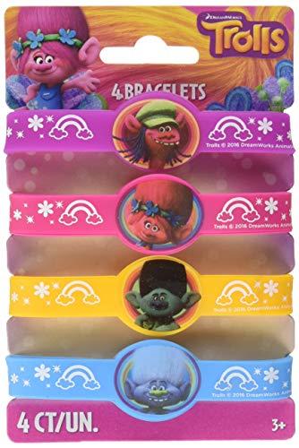 Unique Trolls Party Rubber Bracelets, 1 Pack
