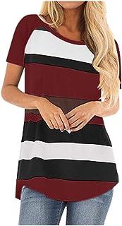 FELZ Camiseta para Mujer Señoras Camiseta Cuello Redondo Manga Corta Blusa Sexy Raya Camisa Casual Basica tee