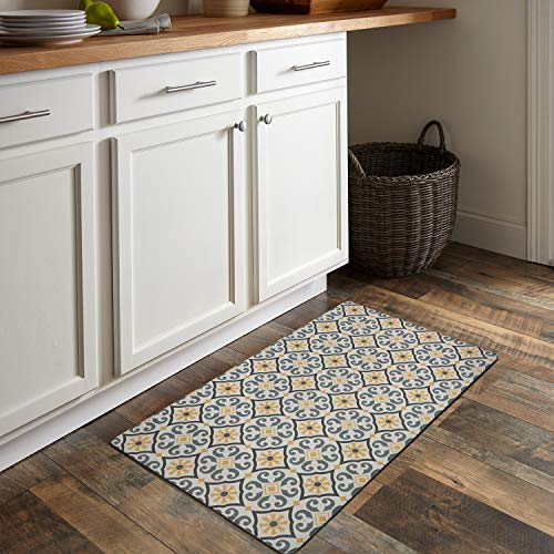 QSY Home Kitchen Anti Fatigue Floor Mats 18x30x1/2-Inch Comfort Standing Rugs for Laundry Bath Room Pvc Foam Bevel Edges Non-Slip Waterproof Mats, Grey/Yellow