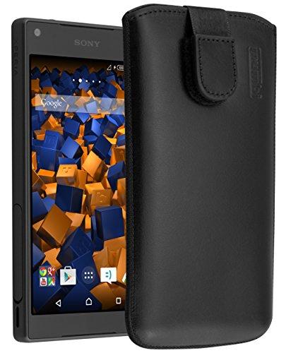 mumbi Echt Ledertasche kompatibel mit Sony Xperia Z5 Compact Hülle Leder Tasche Case Wallet, schwarz