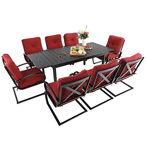 Sophia & William Patio Dining Set 9 Piece Expandable Outdoor Table Furniture Set with 8 Metal Spring Motion Dining Chairs and 1 Rectangular Bistro Deck Table with Leaf, Red
