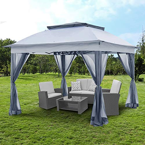 YGBH 11'x11' Pop-Up Gazebo Tent Instant with Mosquito Netting Outdoor Gazebo Canopy Shelter with Shade for Garden, Backyard and Lawn (Grey)