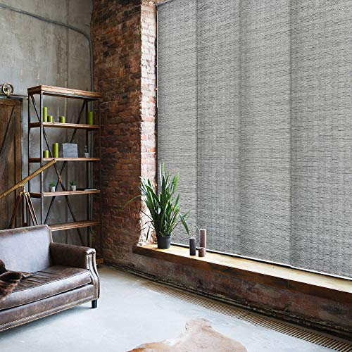 """GoDear Design Deluxe Adjustable Sliding Panel Track Blind 45.8""""- 86"""" W x 96"""" H, Extendable 4-Rail Track, Grey Trimmable Pleated Natural Woven Fabric, Munich Castle"""