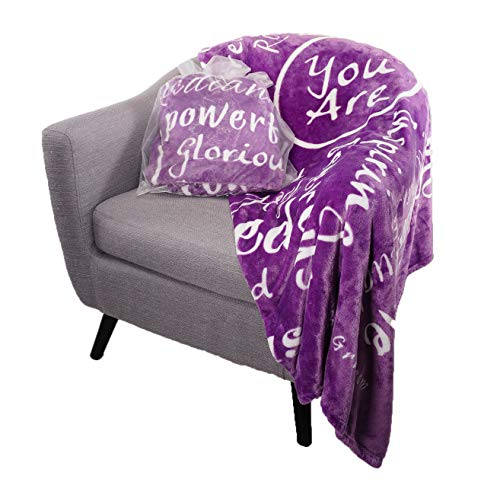 You are Awesome Throw Blanket (Purple) - Made with Warm, Soft, Fuzzy Fleece for Extra Comfort - Unique Gifts for Friends and Family - Quotes for Admiration, Gratitude, and Friendship - Blankiegram