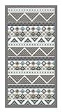Panorama Alfombra Vinílica Azteca Color Azul 80 x 150 cm - Alfombra Cocina Vinilo - Alfombra Salón Antideslizante, Antihongos e Ignífuga - Alfombras Grandes - Alfombras PVC