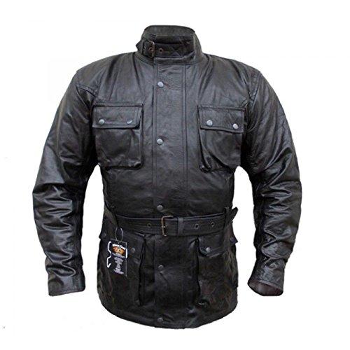 Australian Bikers Gear, Klassische Vintage-Motorradjacke, Schwarz, aus Leder, gewachst, behandelt (6XL)