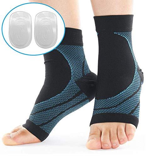 L.S.C 足底筋膜炎 扁平足 足首サポーター 靴下 アーチサポーター 足の裏の痛み マラソンに 【左右2枚+ かかとクッション 2個セット】(ブルー, L)
