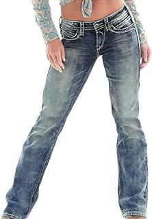 Women Boot Cut Slim Casual Washed Low Rise Straight Leg Jeans Denim Pants