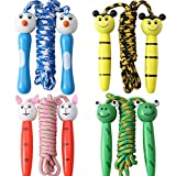 4 Pack Jump Ropes with Wood Handles for Kids - Animal Face Characters - 6.5 Feet Rope Length - Perfect for Children, Birthdays, Party Favors, Outdoor Fun
