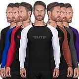 Elite Sports New Item Full Long Sleeve Compression, Mma, Bjj, No Gi, Cross Training Rash Guard, Medium, White