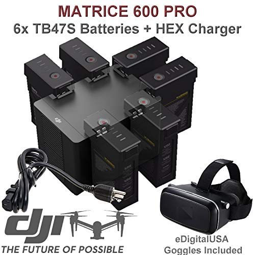 DJI TB47S Battery Bundle for Matrice 600 PRO Quadcopter. Includes 6 TB47S Batteries, HEX Intelligent Flight Battery Charger, CP.SB.000297 (Charge 6 Batteries & Two Remotes Simultaneously) and More.