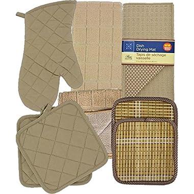 Tjndn, Inc Kitchen Linens Bundle of 8 Items - Matching Kitchen Towel, Oven Mitt, Pot Holders,Dish Cloths, Dish Drying Mat and Bonus Bamboo Hot Pads (Beige)