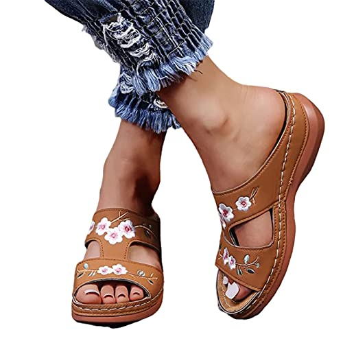 Dastrues Leather Flower Embroidered Sandals Women Comfort Footbed Orthopedic Arch-Support Sandals