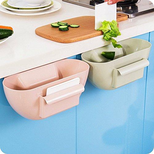 CrazySell, contenitore creativo multifunzionale in plastica, per scrivania e cucina, cesto della spazzatura da appendere Beige
