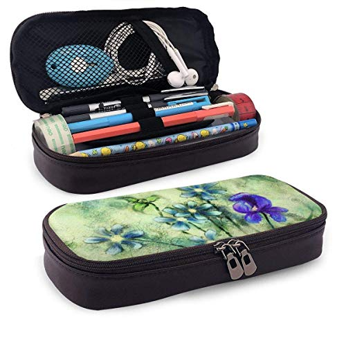 Lawenp Alta capacidad Dragon-Fly Flowers Leather Pencil Case for School Students Office Pen Pencils Box