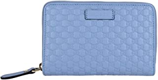 Gucci Women's Light Blue Leather Zip Around Wallet 449423 4503