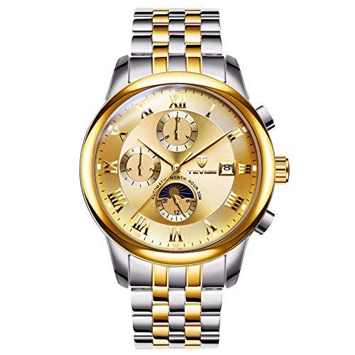 QZPM Hombre Negocio Relojes Multifunción Automático Calendario De Fechas Esfera Luminosa De Acero Inoxidable Reloj Mecánico,Oro