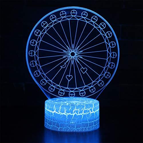 Veilleuse 3D simple lumière/LED, lumière de sculpture art tactile 7 couleurs, panneau acrylique, base en ABS, câble USB, décoration de chambre