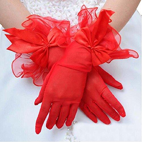 Femmes Party Bow dentelle élégant mariage gants de mariée (rouge)