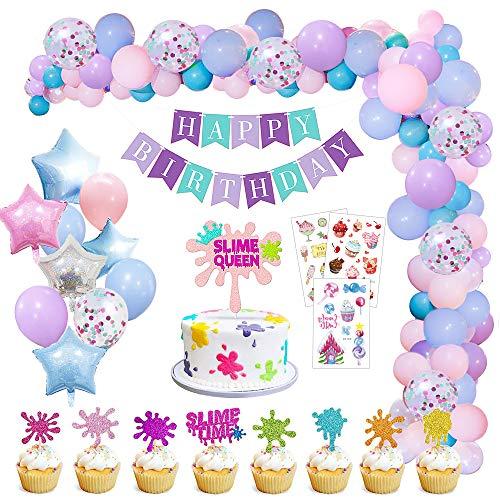 MMTX Geburtstagsdeko Mädchen, Happy Birthday Spruchband mit Tortendeko und Kinder Tattoo für Kinder Mädchen Baby Geburtstag Party Babydusche Dekorationen