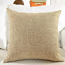 "Siya Ram Furnishing Decorative Jute Square Shape Cushion Cover Jute Fabric for Sofa Sets (Cream Color Size : 22"" x 22"" inch) (Set of 1)"