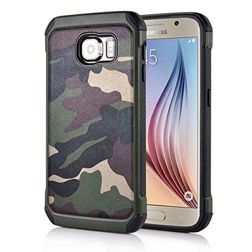 Samsung Galaxy S6 G920 Outdoor Case TPU Hybrid Camouflage Tarnmuster Hülle Grün