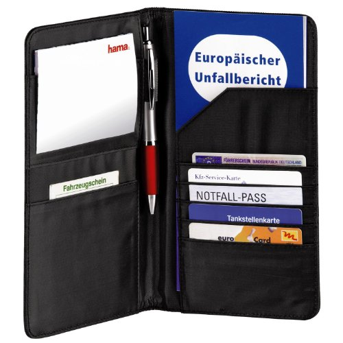 Hama Mappe für Fahrzeugpapiere, Auto Organizer für Reisedokumente, Kreditkarten, Führerschein etc., schwarz