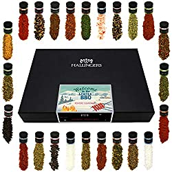 Hallingers 24er Gewürz-Geschenk-Set mit Gewürzen aus aller Welt (425g) - Welcome to the Winter BBQ (Deluxe-Box) - zu Weihnachten Adventskalender