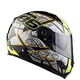Casco Integrale Moto per Nenki Racing Casco/con FRP Materiale/More Sicuro per Soddisfare Il DOT Standard,F,XL