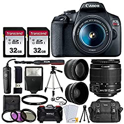 Canon EOS Rebel T7 Digital SLR Camera Bundle + EF-S 18-55mm f 3.5-5.6 is II Lens + 58mm 2X Professional Telephoto & 58mm Wide Angle Lens + 64GB Memory Card + Camera Case + 60 inch Tripod + Slave Flash