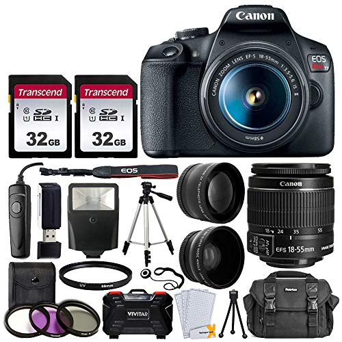 "Canon EOS Rebel T7 Digital SLR Camera Bundle + EF-S 18-55mm f 3.5-5.6 is II Lens + 58mm 2X Professional Telephoto & 58mm Wide Angle Lens + 64GB Memory Card + Camera Case + 60"" Tripod + Slave Flash"