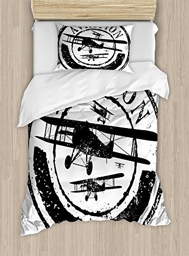 Ambesonne Vintage Airplane Duvet Cover Set, Grunge Style Stamp Design with Word Aviation and Airplane Silhouettes, Decorative 2 Piece Bedding Set with 1 Pillow Sham, Twin Size, Black and White