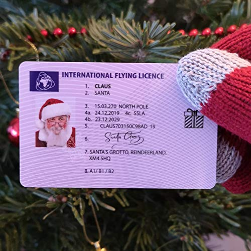 Plastic Santa Claus Father Christmas Lost Flying Licence - Driving Licence Style