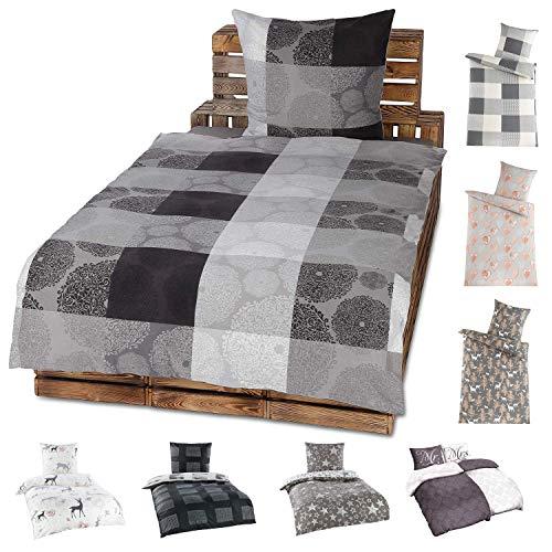 Niceprice 4 Teilige Winter Bettwäsche Set Fleece Flausch in 20 modernen Designs in 4 Größen 135x200-155x220-200x200-200x220, Chris 135x200