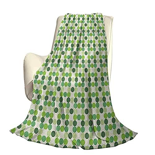 Manta de Camping Verde para Coche Círculos de Manta de Chal de Varios Tonos Tonos y tintes de Verde Estilo Retro Patrón geométrico Anti desvanecimiento sin Bolas sin Arrugas sin derramamient