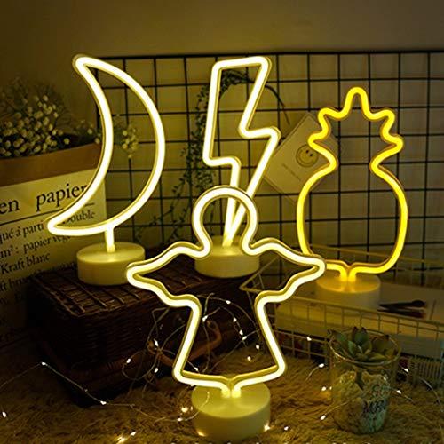 Paneles de luz inteligentes Signo de Luz de Neón LED con Base de Soporte Desmontable Batería O Fuente de Alimentación USB para Los Suministros de Fiesta de La Mesa Decoraciones Niños Niños Regalos Lám