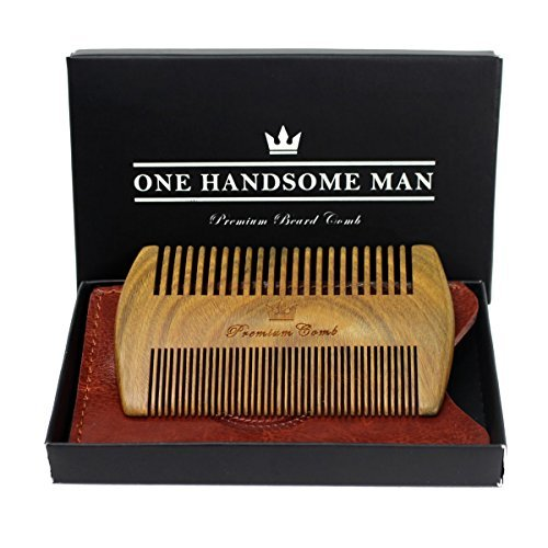 Beard Comb Kit by One Handsome Man - Sandalwood Beard Comb with PU Leather Case and Gift Box -...