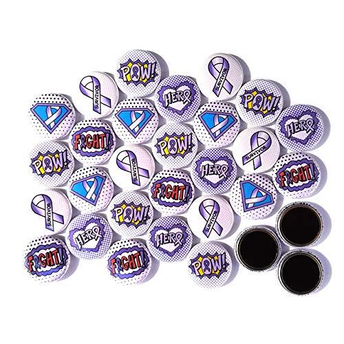 "PURPLE LAVENDER Superhero Awareness Magnets. (1"" Magnets 30 Piece Set)"