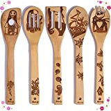 Unique Wooden Spoons for Cooking, Nightmare Pattern Burned Wooden Spatula Utensils & Gadgets, Non-Stick Organic Bamboo Cookware Sets, Housewarming Presents Kitchen Utensil Set(5 Pieces)