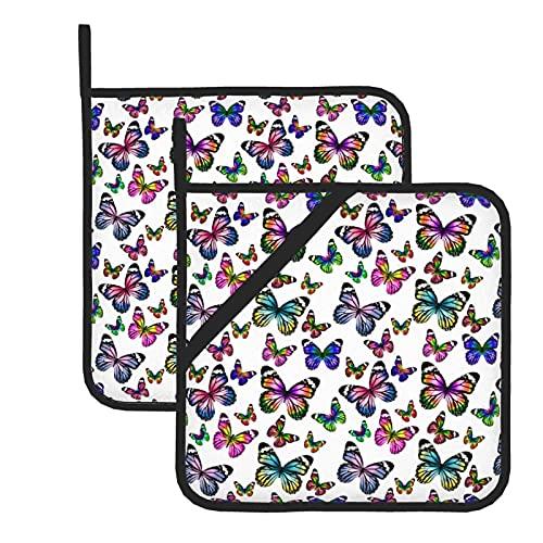 HaiYI-ltd Juego de 2 soportes para ollas, diseño de mariposas en color blanco, con lazo, resistente al calor, para cocinar y barbacoa
