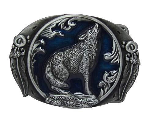 Générique Howling Wolf Belt Buckle Blue Background.