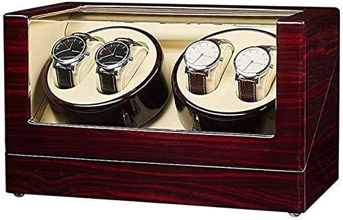 YLJYJ Caja enrolladora de Reloj 4 + 0 enrolladora automática de Madera enrolladora giratoria Motor silencioso de Lujo Caja de Madera 2 Modo de Fuente de alimentación 32 y Tiempos; 20 y Tiempos; 18CM