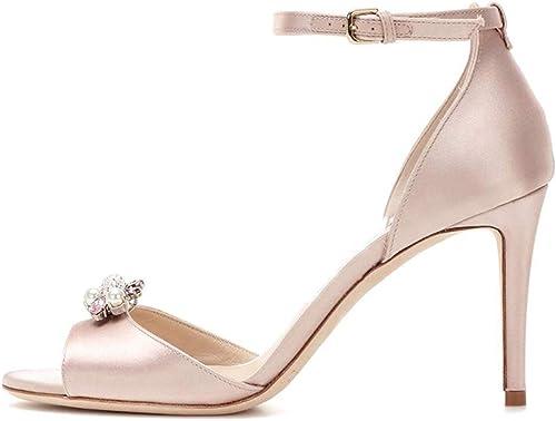 ZXXxxZ Stilettos Stilettos en Satin de Soie pour Femmes élégantes Strass Chaussures Poisson Bouche Sandales Bride à la Cheville Boucle Chaussures Simples Femme  vente discount en ligne
