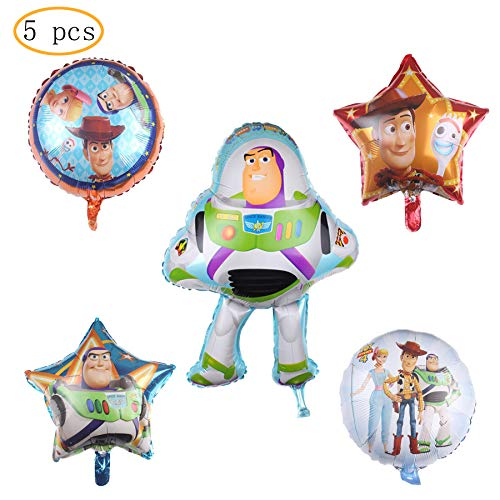 "5PCS Toy Story Balloon Party Supplies 30"" Foil Balloons for Kids Baby Shower Birthday Party Decorations"