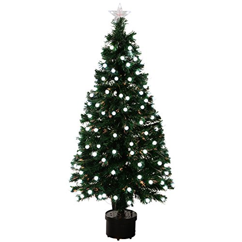 WeRChristmas 4ft Pre-Lit Fibre Optic Christmas Tree with Frosted Berry LED Lights, Green/ White