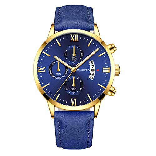Herren Armbanduhr Mode Quarzuhr Analog Quartz Wrist Watch Uhren Leder Armband Herrenuhr Lederarmband, K